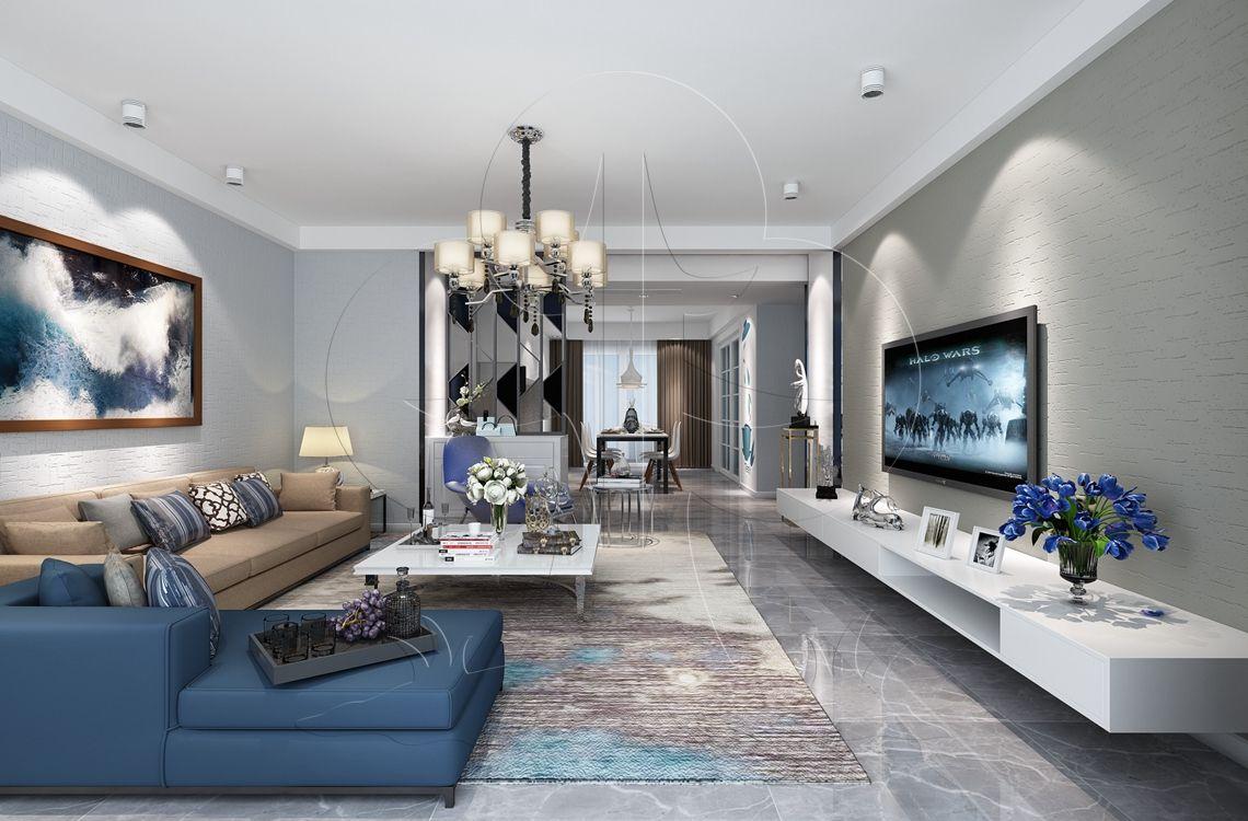 V1现代五-客厅-肌理-拟丝