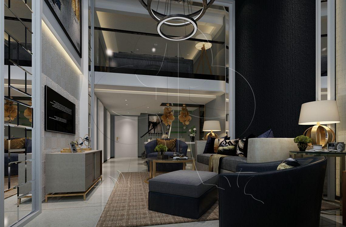 V2现代六-客厅-肌理-树皮