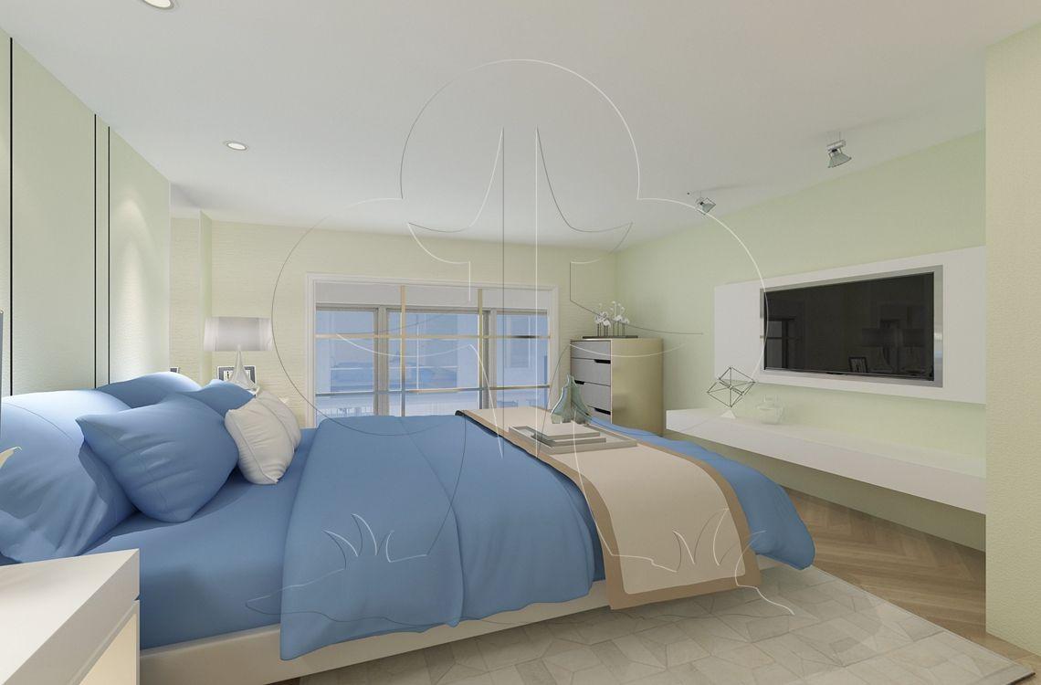 V2简约三-卧室-肌理-洞石