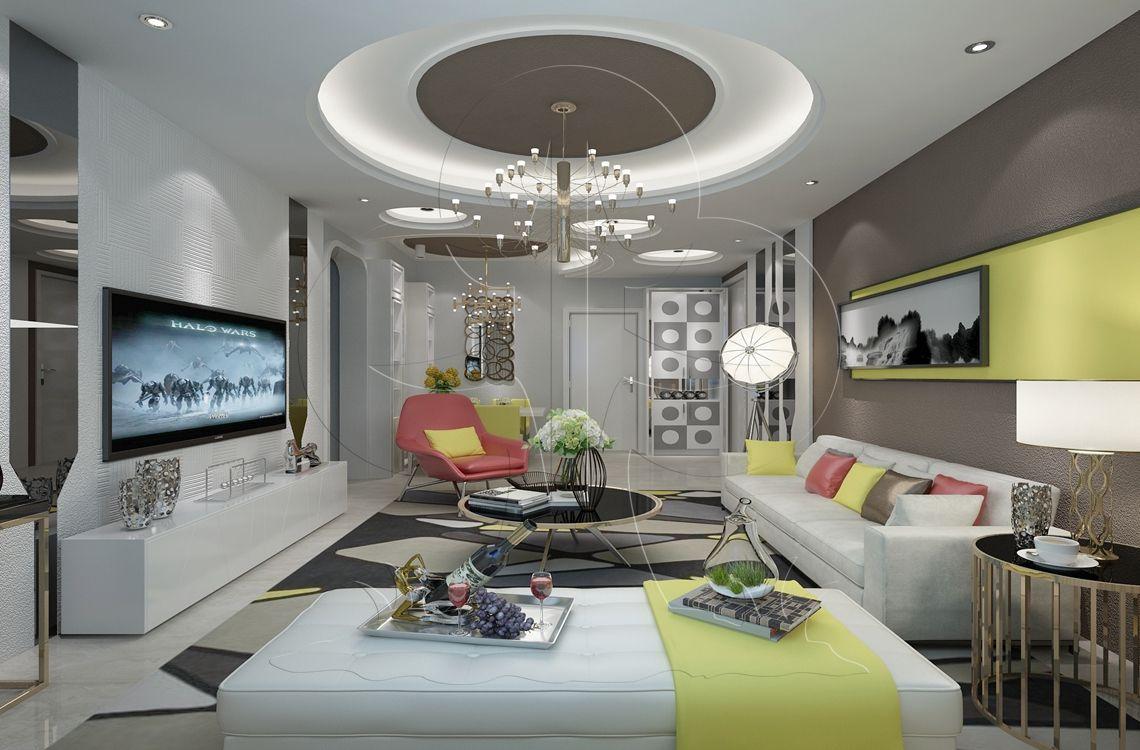 V2现代三-客厅-肌理-陶纹