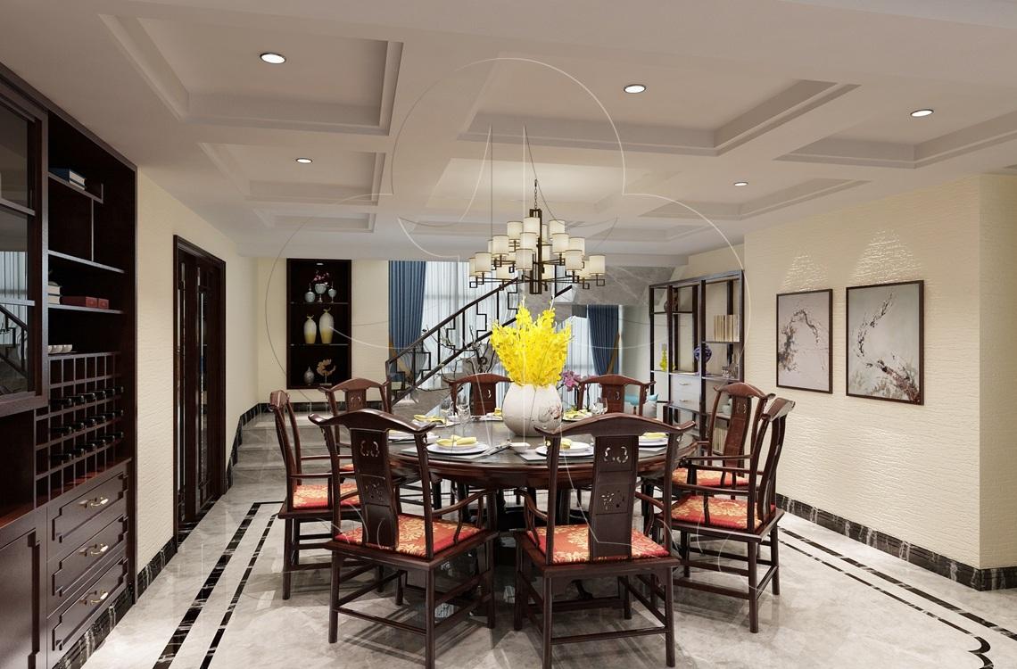 V3中式-餐厅-肌理-洞石-压花