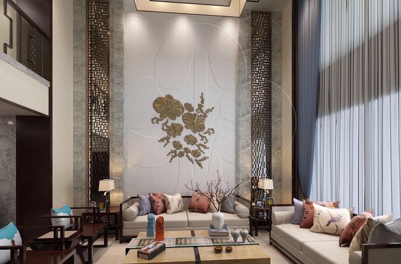 V3中式-客厅-肌理-洞石-压花