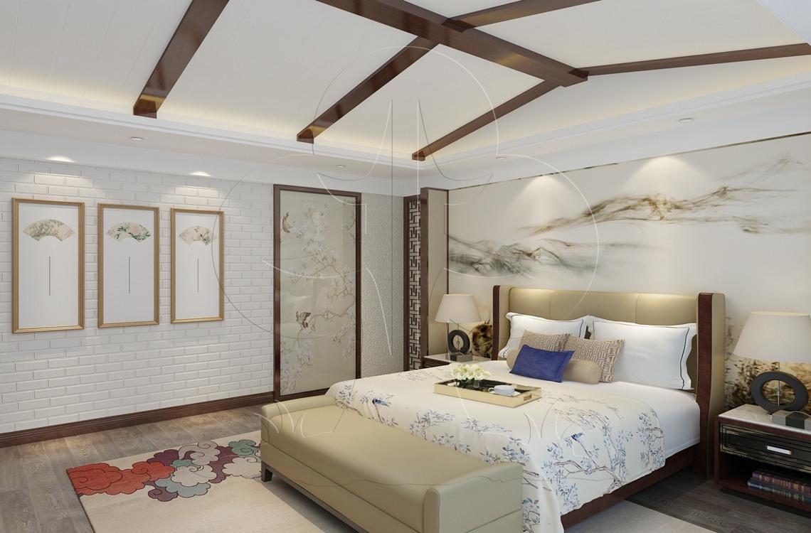 V3中式-卧室-压花-砖艺-手绘